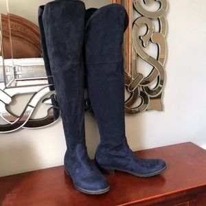 Blue suede over the knee boots